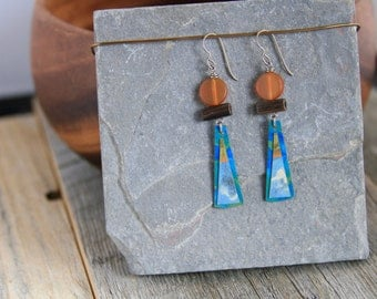 Wood Earrings / Acrylic Painting / Women's Jewelry / Art / Sustainable / Gifts for Her / Organic Jewelry / Earrings / On Sale
