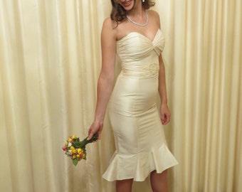 Vintage Silk Made in Australia Short Ivory Strapless Wedding Dress Bridesmaid Maid of Honour Prom Formal Dress