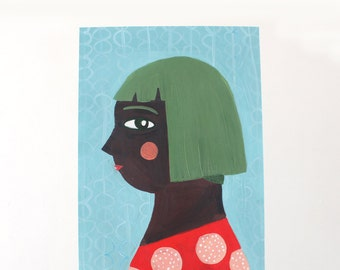 A4 Giclee Art Print - Green Haired Girl