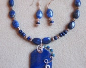 Lapis Lazuli Wire Wrap Pendant Necklace - Earring set handmade by watercolorsNmore