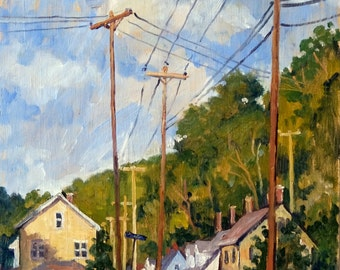 Houses and Poles, September, North Adams. Original Oil on Panel, 24x12 Plein Air Landscape Painting, Signed Original Realist Fine Art