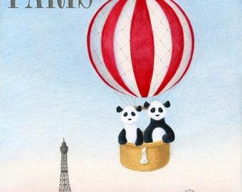 Panda Bears Paris Travel Poster 8 x 10 Inch Print by SBMathieu