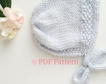 Baby Bonnet, Knitting Pattern For Baby, Sunhat for Little Girls, Spring Bonnet, Baby Shower Gift, PDF Pattern, New Mom Gift, Baby Girl