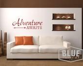 CLEARANCE 50% OFF Adventure awaits arrow Vinyl Wall Decal - Travel Vinyl Wall Decal - Adventure awaits decal - Adventure Vinyl Decal