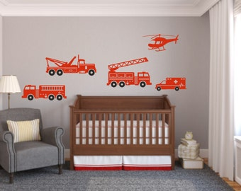 Fire Truck Wall Decal - Set of 5 Fire and Rescue Vehicles Decals - Child's Room Wall Decal - Fire Trucks