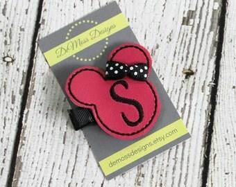 Minnie Personalized Hair Clip, Vinyl Hair Clippie, Machine Embroidered, Alligator Clip, Non Slip