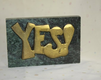 YES Paperweight Brass and Green Granite Polished Nice weight Retro Look 1970s Dark Green Shiny Brass Unique Say Yes to this desk accessory