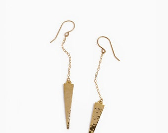 Gold Hammered Earrings. Spike. Simple. Drop Earrings. Gold filled.