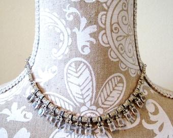 vintage 50s 60s Coro rhinestone necklace / diamante chips choker bridal prom formal diamond crystal costume