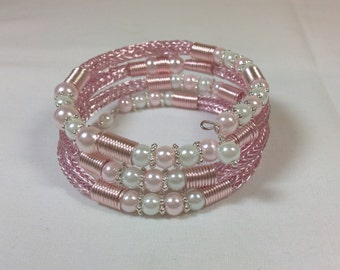 Pink and White Viking Knit Wrap Bracelet with Pink and White Glass Pearls, One of A Kind, Fits all Sizes