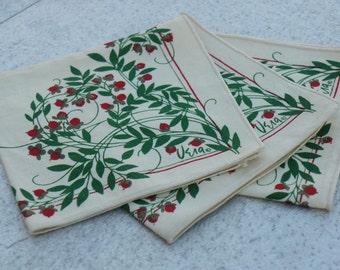 Vintage 80s-90s Vera Neumann Napkins /Vintage Linen/Woodland /Retro /Mid Century/Bohemian Chic/Collectible Linen