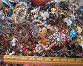 HUGE costume jewelry repair lot - mostly vintage - over 12 POUNDS - destash - reuse, as is