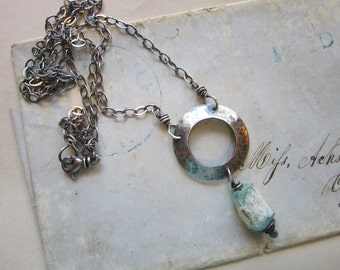 handmade necklace - ANCIENT GLASS, sterling silver, aqua glass fragment bead