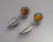 Autumn Amber Leaf Stud Earrings in Sterling Silver - Ready to Ship