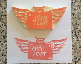 Owl Post Stamp - Harry Potter, rubber  stamp, handmade, mail, stationary