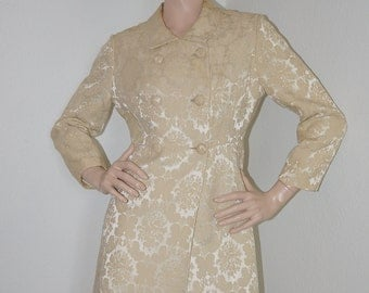 Vintage 1950s 1960s Dress and Coat Set / 50s 60s Champagne Damask Shift Dress and Matching / 2 Piece Outfit Ivory Dress Set Leslie Fay