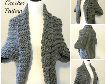 CROCHET PATTERN - Crochet Shrug Pattern, Chunky Shrug Pattern, Crochet Sweater Pattern, Crochet Cardigan Pattern, Oversized Shrug
