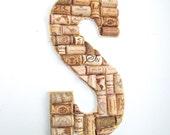 Personalize Handcrafted Winecork Initial Wall Art or Door Hang