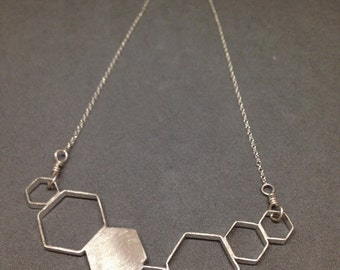 Sterling Silver DNA / Hexagon Necklace