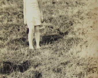 Vintage Summertime Photo - Girl on a Grassy Hill