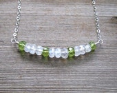 Peridot and Rainbow Moonstone Necklace, Multi Stone, Bar Style Layering Necklace, August Birthstone, Sterling Silver, Moonstone Jewelry