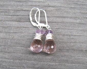 Ametrine Earrings, Wire Wrapped In Sterling Silver,  February Birthstone, Amethyst and Citrine Dangle Earrings, Ametrine Jewelry