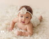Newborn photo prop, Newborn headband with lace flower, newborn girl, newborn girl prop, newborn tieback halo, newborn lace tieback