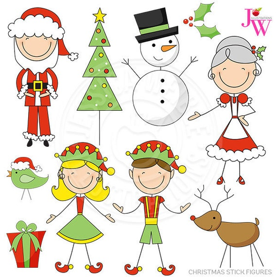 Christmas Stick Figures Cute Digital Clipart, Christmas Clip Art, Santa Clipart, Reindeer, Elves, Snowman, Cute Christmas Graphics