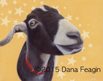 Goat Painting - Goat Head - Goat Art - Funny Animal Art - 10% Benefits Animal Charity