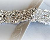"""Crystal Rhinestone Trim with Pearls, Swarovski, Beaded Rhinestone Bridal Applique for Wedding Gown or Sash, 24"""""""