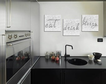 "Eat Drink And Be Merry Home Decor Artwork Lighter Version | 3 canvases 12x12"" Each"