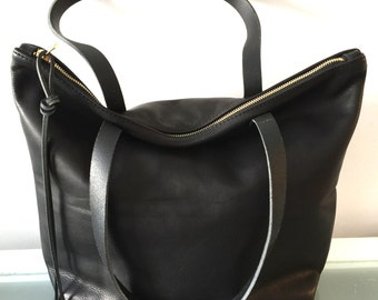 Black leather tote bag with zip – Trend models of bags photo blog