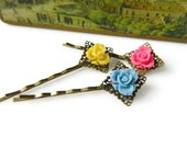 Pink Rose Flower Hair Pins Blue Bobby Pins Floral Yellow Flower Girl Gift Boho Bridal Wedding Vintage Style Antique Brass Gift Best Friend