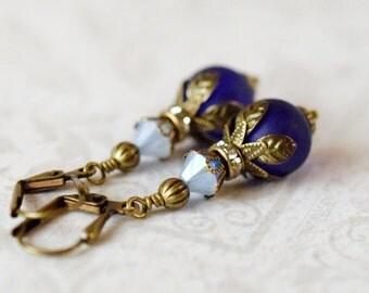 Dark Blue Sea Glass Earrings Frosted Matte Blue Earrings Bohemian Earrings Sky Blue Opal Swarovski Crystal Antique Brass Leaf Coastal