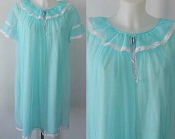 Vintage Queentex Aqua Blue Short Nightgown, Chiffon Nightgown, Vintage Nightgown, Nightgowns, Vintage Lingerie, Queentex