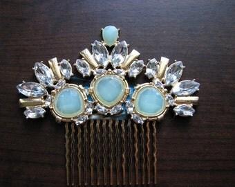 Decorative hair comb | gold | hair piece wedding | bridal | aquamarine | rhinestone