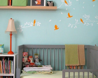 Nature Wall Decals- Branch and birds - Nursery Decals Home decor wall art vinyl removable decals stickers