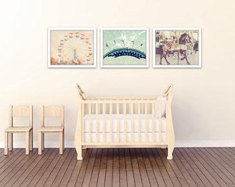 carnival nursery decor, carnival prints, carnival photography, toddler room decor, nursery wall art, set of 3 photos, carnival art, baby art