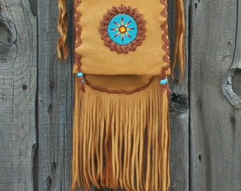 Beaded hippie purse ,    Fringed leather handbag ,  Crossbody leather purse