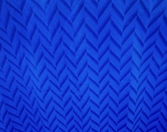 "44"" Wide Drapey Royal Blue Chevron Zig Zag Pattern Geometric Print Rayon Fabric for Dress Home Decor Curtains Draperies Decor S126"
