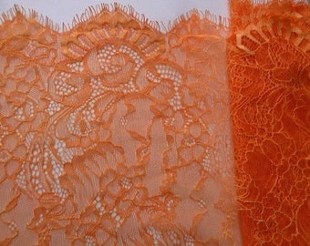 "1, 3 or 5 Yards 14"" Wide Pumpkin Orange Floral Stretch Lace Trim Tulle Eyelash Victorian Style Lace Scalloped Lace Lingerie FJT S127"