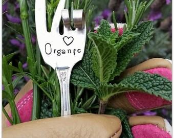 Garden Marker, Peace Love Organic, Vintage Silverware, Hand Stamped, Window Box, Kitchen Garden, Silver Fork, Hippie Gardener, Upcycled, USA