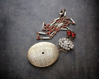 Large Antique Brass Oval Locket Necklace with Ruby Red Crystal Rosary Chain and Vintage Rhinestones