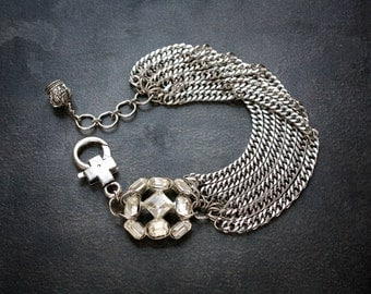 Industrial Silver Curb Chain Multi Strand Bracelet with Vintage Rhinestone Button and Crown Charm