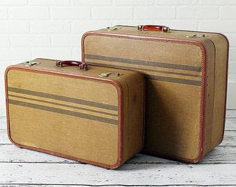 Pair Vintage Striped Suitcases - c. 1950s