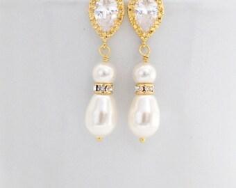 Gold Pearl Drop Earrings, Bridal Pearl Teardrop Earring, Pearl Wedding Earrings Gold, Teardrop Pearl and Rhinestone Earrings, Pearl Earings