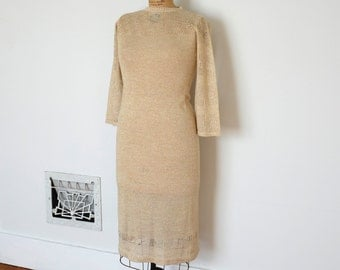 Vintage 1970s Dress - 70s Gold Knit Dress - The Beverly