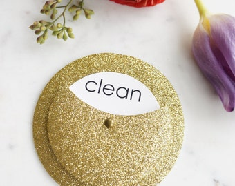 Clean Dirty Dishwasher Magnet - Gold Kitchen Decor - Metallic Kitchen Decor - Glitter Kitchen Decor - Gold Home Decor - Gold Hostess Gift