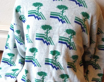 Vintage Pebble Beach Golf Links sweater Cypress trees mens size medium large 1970s 1980s