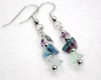 Stacked Stone Fluorite Earrings in Silver - Purple Stone Earrings, Blue Stone Earrings, Light Aqua Stone Earrings , Green Stone Earrings